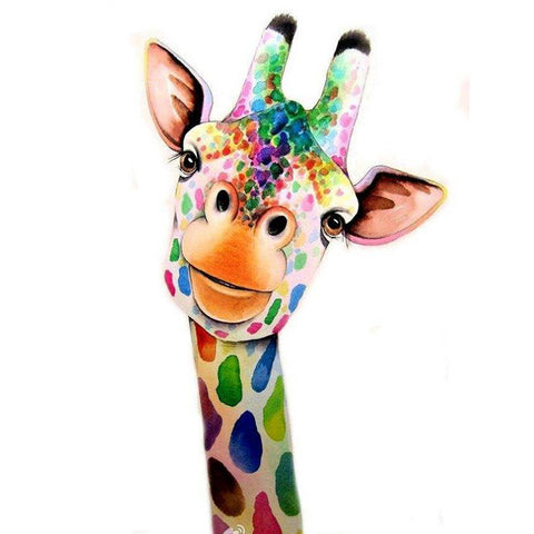 Diamond Painting-5D DIY Partial Round Drill Cute Colorful Giraffe
