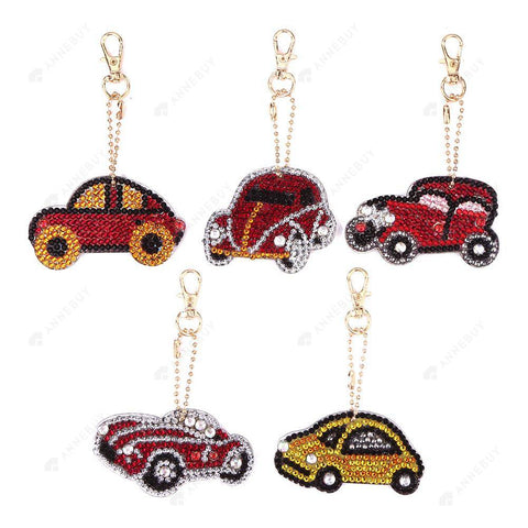 DIY Diamond Painting Keychain-5pcs/set Full Drill Rhinestones Car Pendant Gift