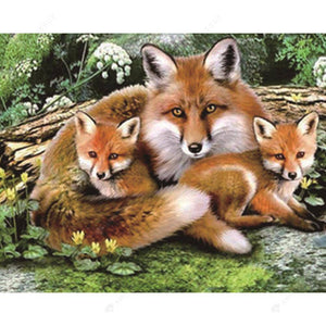 Diamond Painting-5D DIY Partial Round Drill Wolf Mother and Babies