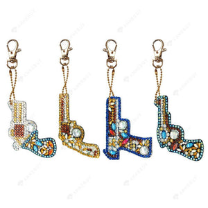 DIY Diamond Painting Keychain-4pcs/set Full Drill Toy Ornaments Pendant Gift