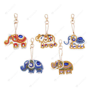 DIY Diamond Painting Keychain-5pcs Full Drill Rhinestones Elephant Pendant Gift
