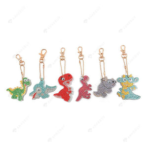 DIY Diamond Painting Keychain-6pcs Full Drill Handmade Cartoon Dinosaur