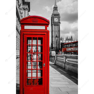 Diamond Painting-5D DIY Partial Round Drill Big Ben and Telephone Booth