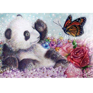 Diamond Painting-5D Full Round Drill Bear and Butterfly