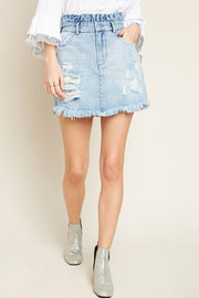 High Ruffle Waist Denim Skirt