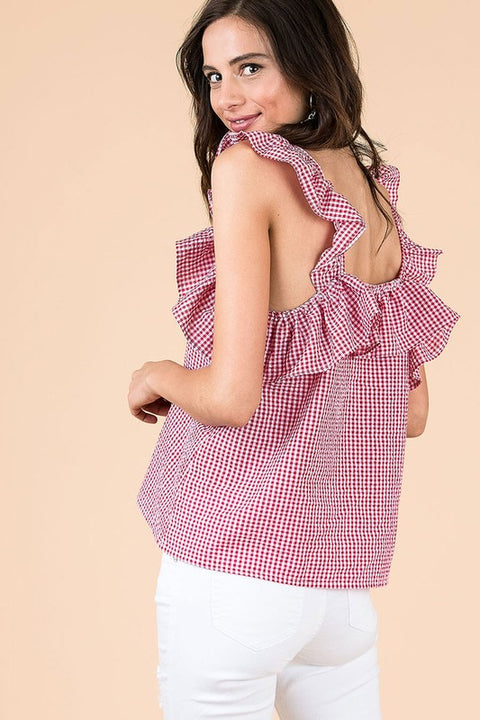 Red Gingham Ruffle Tank