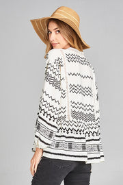 Ivory & Black Aztec Blouse - Final Sale