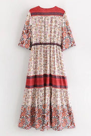 'LOUISE' Boho Midi Dress - RED