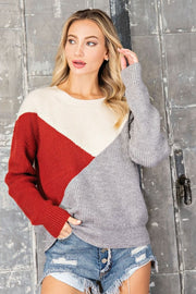 MEG Asymmetrical Colorblock Sweater-RUST