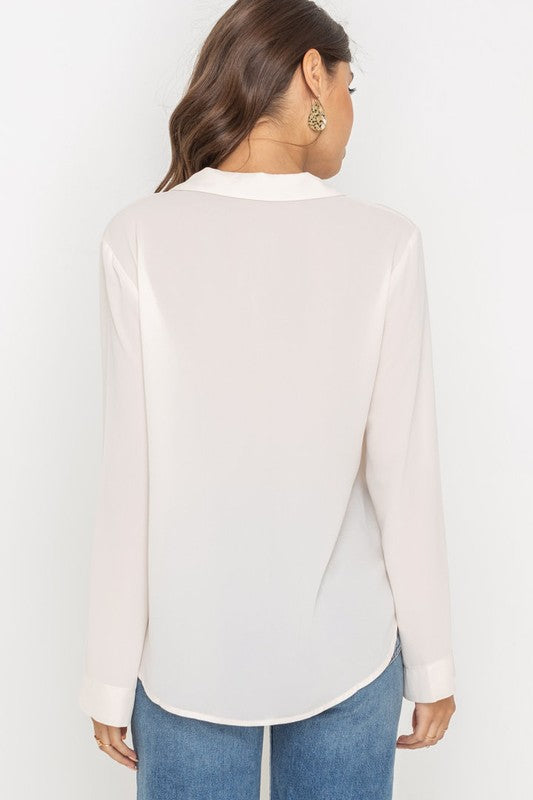 'POPPY' White LS Blouse