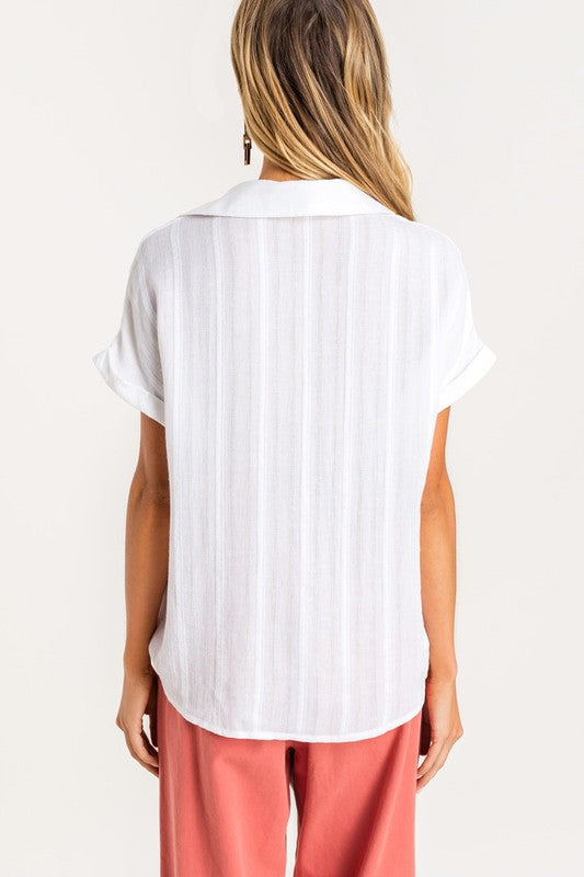 'MAGGIE' Collared Top - WHITE