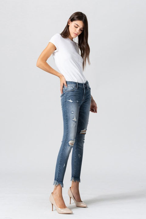 'LOUISE' Fray Hem Crop Skinnies