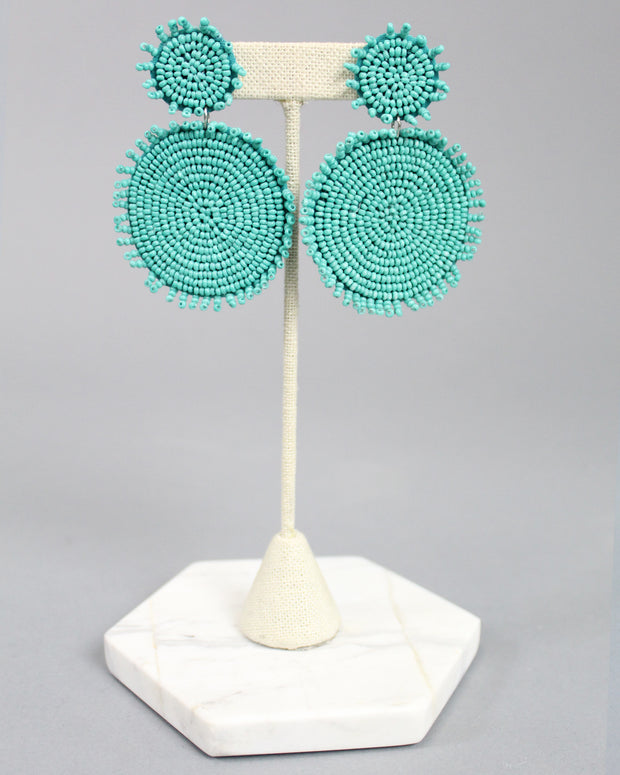 'MADDIE' Circle Beaded Earrings - Turquoise