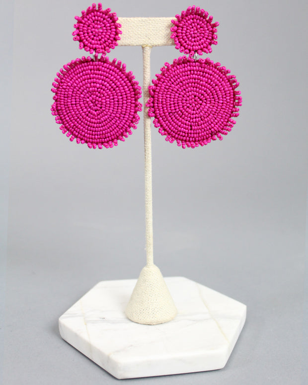 'MADDIE' Circle Beaded Earrings - Fuchsia