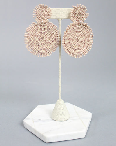 'MADDIE' Circle Beaded Earrings - Nude