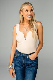 'BONNIE' Buddy Love V-Neck Bodysuit-TAN