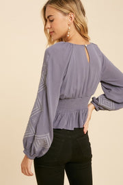 DANA Embroidered Smocked Top-SLATE