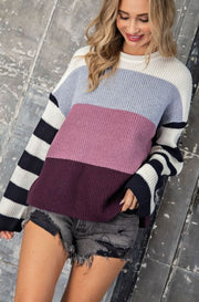 HEIDI Striped Sleeve Sweater