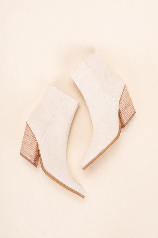 SLOAN Off-White Stacked Heel Bootie
