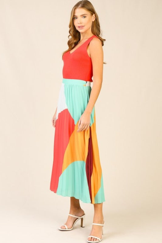 'MILLIE' Color block Pleated Skirt