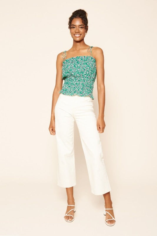 ISLA Floral Crop Top-GREEN