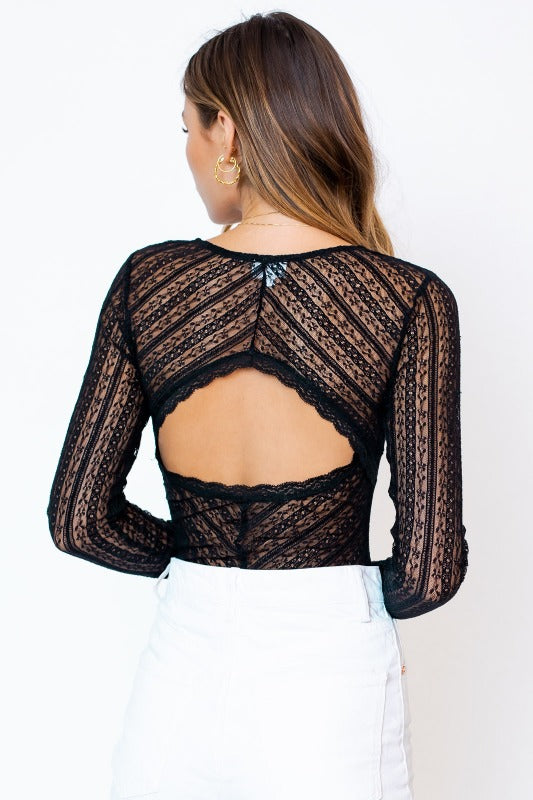 LULU Lace Cut Out Bodysuit