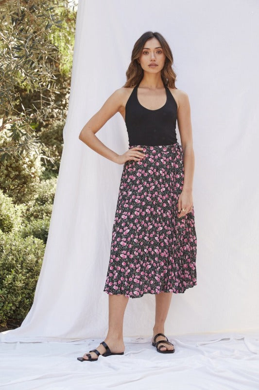DIXI Lucy Paris Floral Skirt-BLACK & PINK