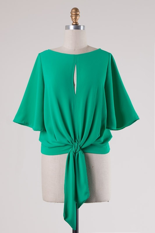 Keyhole Tie Front Top - Jade - Final Sale