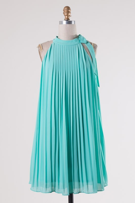 Pleated Swing Dress - Aqua