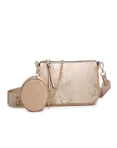 MARINA Crossbody Clutch-Lt Peach METALLIC SNAKE