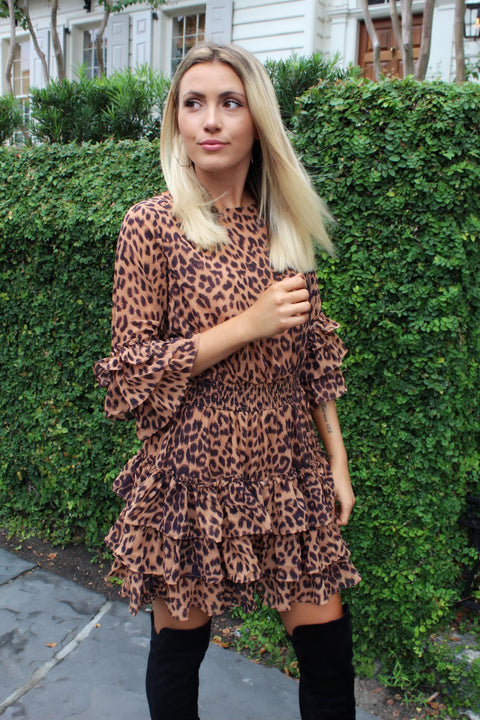 'SHANNON' Leopard Smocked Waist Dress