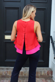 'LUCY' Pink/Red Colorblock Tank