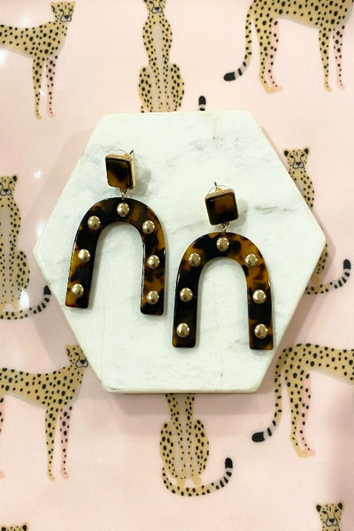 Acrylic Stud Arch Earrings- TORTOISE/GOLD