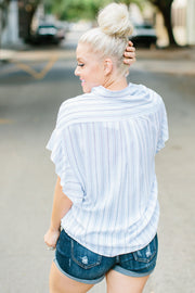 The Steph Stripe Ruffle Sleeve Top