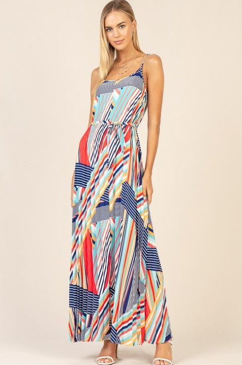 'SADIE' Multi-Color Abstract Dress