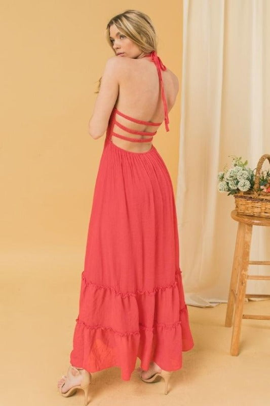 BECKETT Halter Maxi Dress-TOMATO