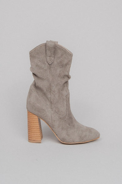 MAVIS Block Heel Ankle Boot-GREY
