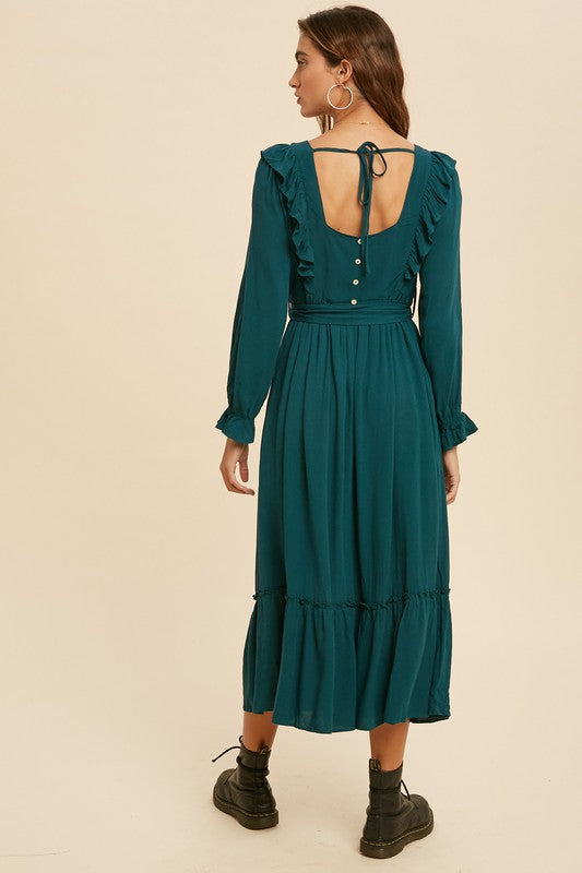 BLAIRE Boho Ruffle Midi Dress- EMERALD