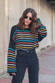 CAIT Striped Crop Sweater-BLACK