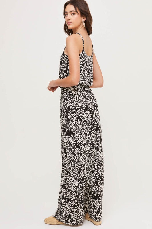 MEG Printed Maxi Dress-BLACK & WHITE