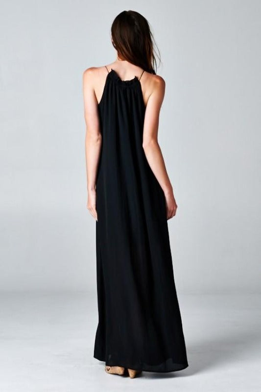 ELLIE Embroidered Detail Maxi-BLACK