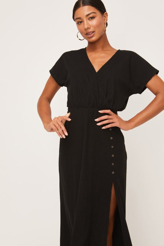 EMMA Short Sleeve Midi Dress-BLACK