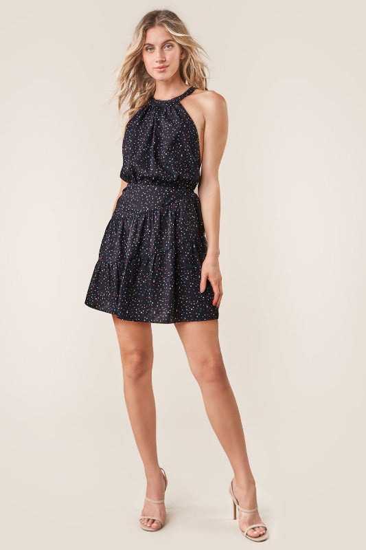REECE Star Print Cross Back Dress-BLACK