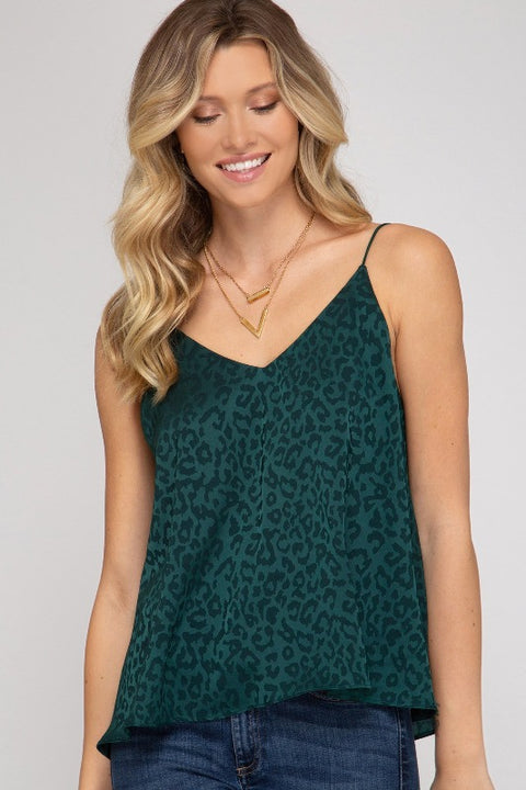 'KAT' Leopard Swing Tank-FOREST GREEN