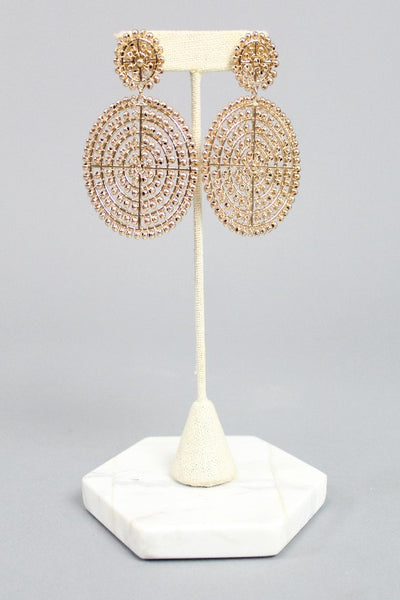 'JILL' Beaded Double Disk Earrings - Gold