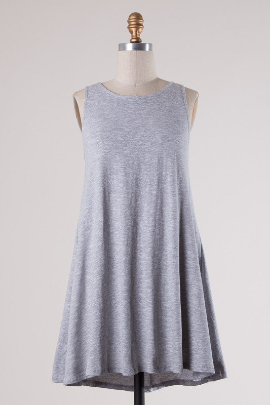 Heather Grey Swing Dress with Back Ties