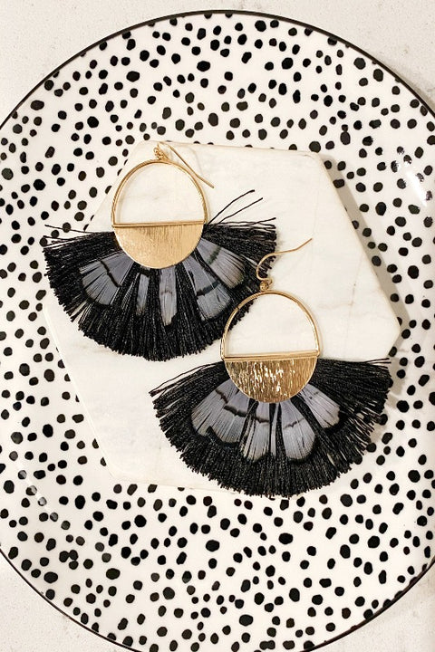 Circle & Feather Tassel Earring