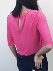 Keyhole Tie Front Top - Hot Pink - Final Sale