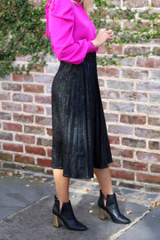 'SIMONE' Pleated Faux Suede Skirt