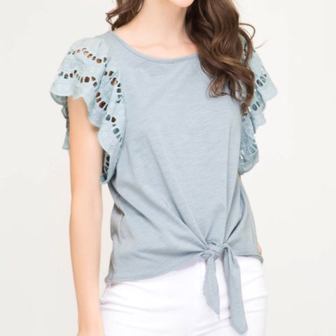 Eyelet Ruffled Sleeve Knit Top - Blue
